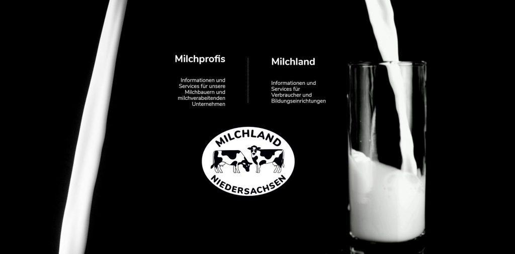 Startseite Milchland.de mit Milchstrahl