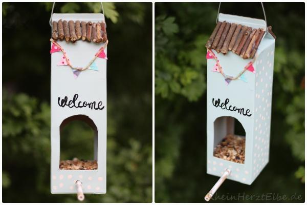 Vogelhäuschen aus Milchkarton, DIY, Basteltip