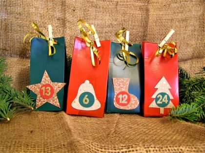 Upcycling Adventskalender aus Milchkartons