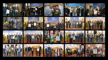 Collage aus Gruppenbildern der Milchlandpreis-Gewinner Goldene Olga 2001-2020