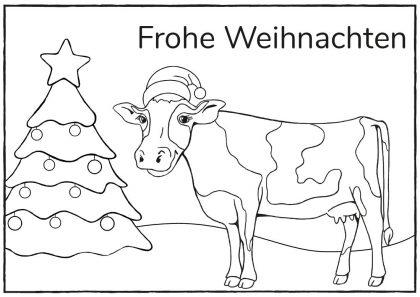 LVN-Weihnachtspostkarte mit Kuh zum Ausmalen