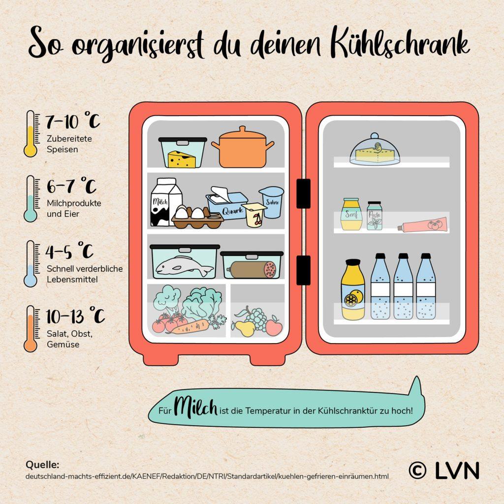 Befüllung Lebensmittel im Kühlschrank