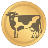 Goldene KuhBit Münze mit abgebildeter Kuh